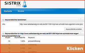 SEO Tools - Sistrix Keyword Density