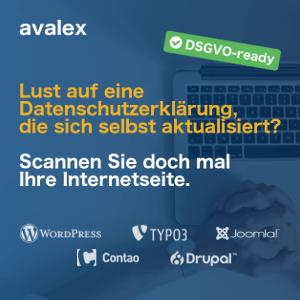 Avalex Datenschutzerklärung