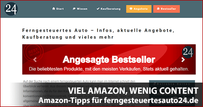 Viel Amazon, wenig Content - Amazon Optimierungstipps für ferngesteuertesauto24.de