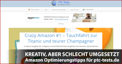 Amazon PartnerNet Praxistipps - Website-Analyse und Optimierungstipps für ptc-tests.de