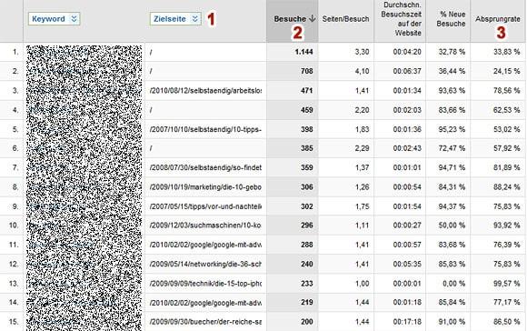 Analyse Keywords mit Google Analytics