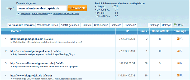 Backlink-Checker von seokicks.de