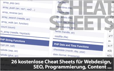 26 kostenlose Cheat Sheets für Webdesigner, Affiliates, Blogger ... zum Download