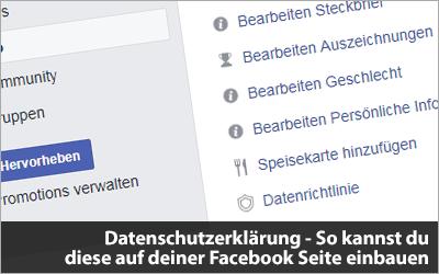 Datenschutzerklärung - So kannst du diese auf deiner Facebook Seite einbauen