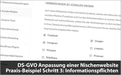 DS-GVO Anpassung einer Nischenwebsite – Praxis-Beispiel Schritt 3: Informationspflichten