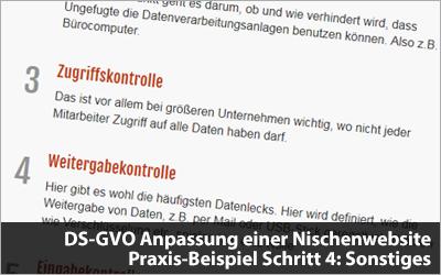 DS-GVO Anpassung einer Nischenwebsite - Praxis-Beispiel Schritt 4: Sonstiges