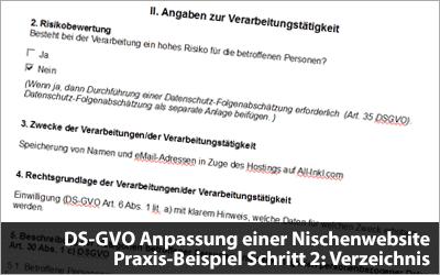 DS-GVO Anpassung einer Nischenwebsite - Praxis-Beispiel Schritt 2: Verzeichnis