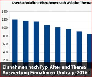 Einnahmen nach Website-Typ, Alter und Thema - Einnahmen-Umfrage 2016