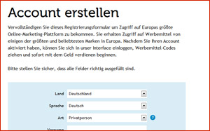 Registrierungs-Formular TradeDoubler