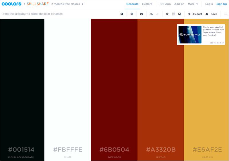 Coolors - 5 Online-Tools für schöne Farben