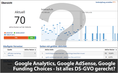 Google Analytics, Google AdSense, Google Funding Choices - Ist alles DS-GVO gerecht?