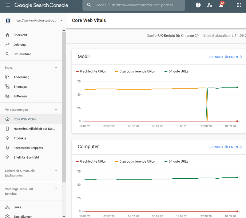 Where can I find the values ​​for Google Core Web Vitals? In Search Console.