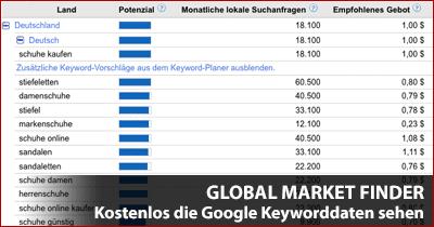 Global Market Finder - Wer braucht da noch den Google Keyword-Planer?