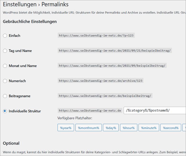 Wichtige WordPress Grundeinstellungen für neue Blogs - Permalinks