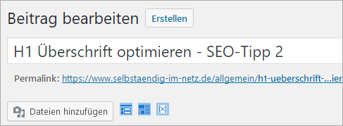 H1 Überschrift in WordPress