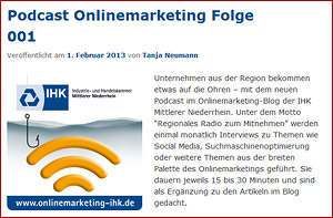 Onlinemarketing-Podcast der IHK - SEO und Online-Marketing Podcasts