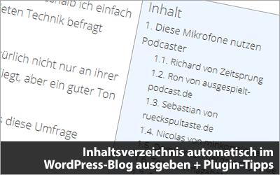 Inhaltsverzeichnis automatisch im WordPress-Blog ausgeben + Plugin-Tipps