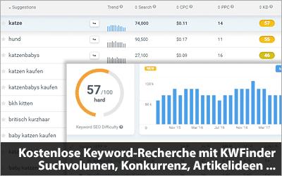 So funktioniert die kostenlose Keyword-Recherche mit KWFinder