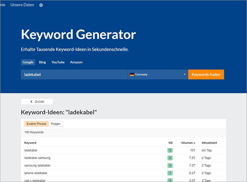 So verdienst du die ersten 100 Euro mit deiner eigenen Website - Keyword Tool