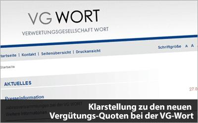 Klarstellung zu den neuen Vergütungs-Quoten bei der VG-Wort