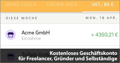 Kostenloses Geschäftskonto für Freelancer, Gründer und Selbständige