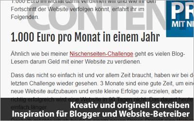 Kreativ und originell schreiben - Inspiration für Blogger und Website-Betreiber
