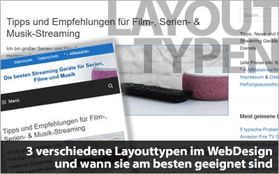 3 verschiedene Layouttypen im WebDesign und wann sie am besten geeignet sind