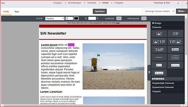 Der Inhalts-Editor von CleverReach - Newsletter erstellen Teil 9