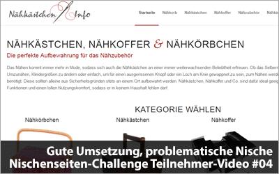 Gute Umsetzung, problematische Nische - Nischenseiten-Challenge Teilnehmer-Video #04