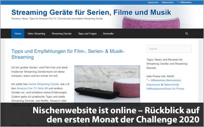 Nischenwebsite ist online - Rückblick auf den ersten Monat der Challenge