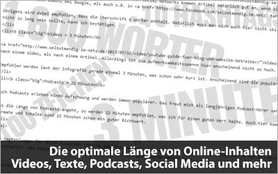 Die optimale Länge von Online-Inhalten - Videos, Texte, Podcasts, Social Media und mehr