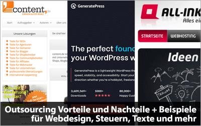 Outsourcing Vorteile und Nachteile + Beispiele für Webdesign, Steuern, Texte und mehr