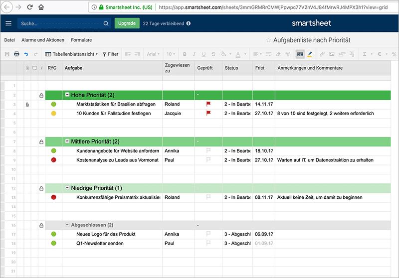 Projektmanagement-Software – die 7 besten Tools - Smartsheet