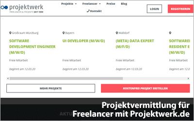 Projektvermittlung für Freelancer mit Projektwerk.de