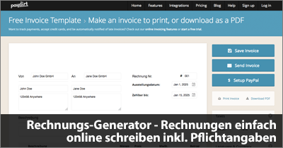 Rechnungs-Generator - Rechnungen einfach online schreiben inkl. Pflichtangaben