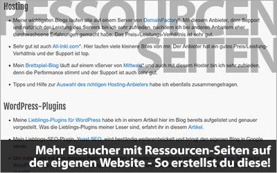 Mehr Besucher mit Ressourcen-Seiten auf der eigenen Website - So erstellst du diese!