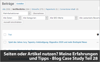Seiten oder Artikel nutzen? Meine Erfahrungen und Tipps - Blog Case Study Teil 28