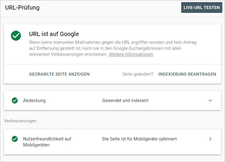 Das beste kostenlose SEO-Tool ist ... - Search Console URL-Prüfung