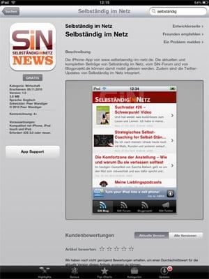 Selbständig im Netz iPhone App