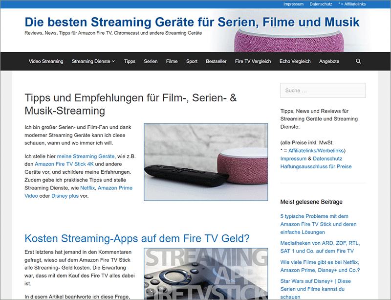 Nischenwebsite-Zwischenstand nach 9 Monaten - Inhalte, Rankings, Traffic, Einnahmen von Streaming-Geraete.de ...