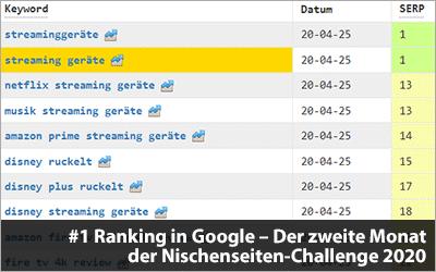 #1 Rankings in Google und gute Besucherzahlen - Der zweite Monat der Nischenseiten-Challenge 2020