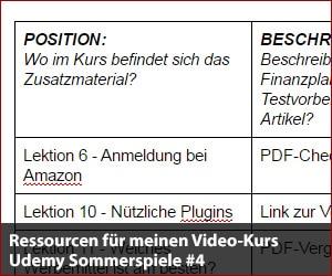 Ressourcen für meinen Video-Kurs - Udemy Sommerspiele #4