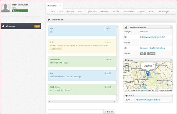 Kommunikation mit potentiellen Kunden auf der eigenen Website