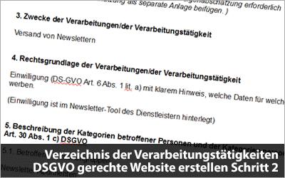 Verzeichnis der Verarbeitungstätigkeiten - DS-GVO gerechte Website erstellen Schritt 2