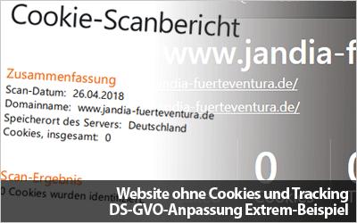 Website ohne Cookies und Tracking - DS-GVO-Anpassung Extrem-Beispiel