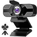 Webcam mit mikrofon 1080P Full HD mit Webcam Abdeckung, USB Webcam mit Stativ, Mini Plug and Play...