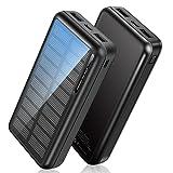 Powerbank Solar 30000mAh, Solar Ladegerät Outdoor mit 2 Ausgängen, [USB-C-Eingänge] Solar Power...