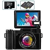 Digitalkamera 30MP 2.7K Full HD Kompaktkamera mit Flip-Screen Fotoapparat Digitalkamera mit 32 GB...