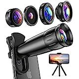 LIERONT Handy Objektiv Kamera Linse Kit, 5 in 1 Universal Zoom Teleobjektiv, Makro Objektiv,...